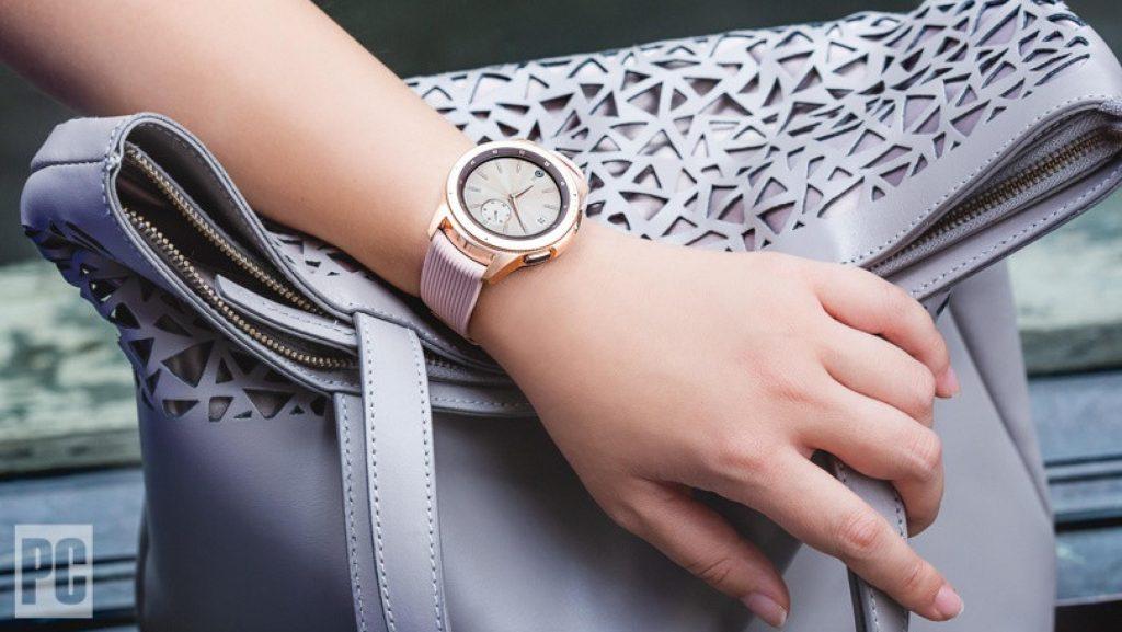 rose gold Samsung smartwatch