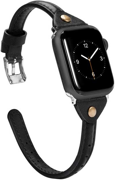 Wearlizer Black Thin Leather Compatible with Apple Watch Band